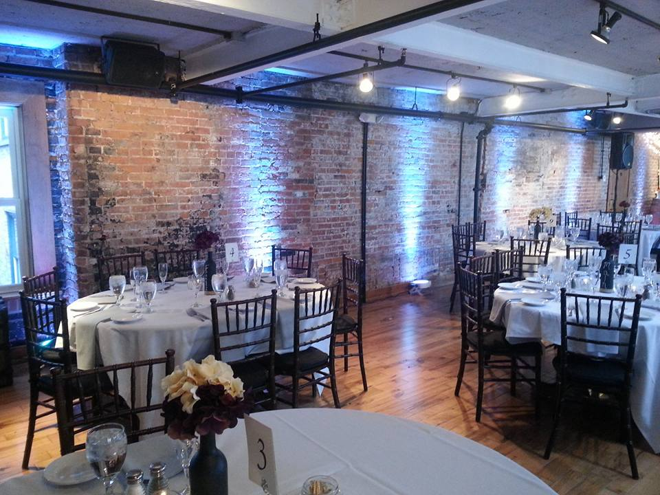 Full-Room White Uplighting at Lafayette Hotel in the Greenhouse Room in Buffalo, New York