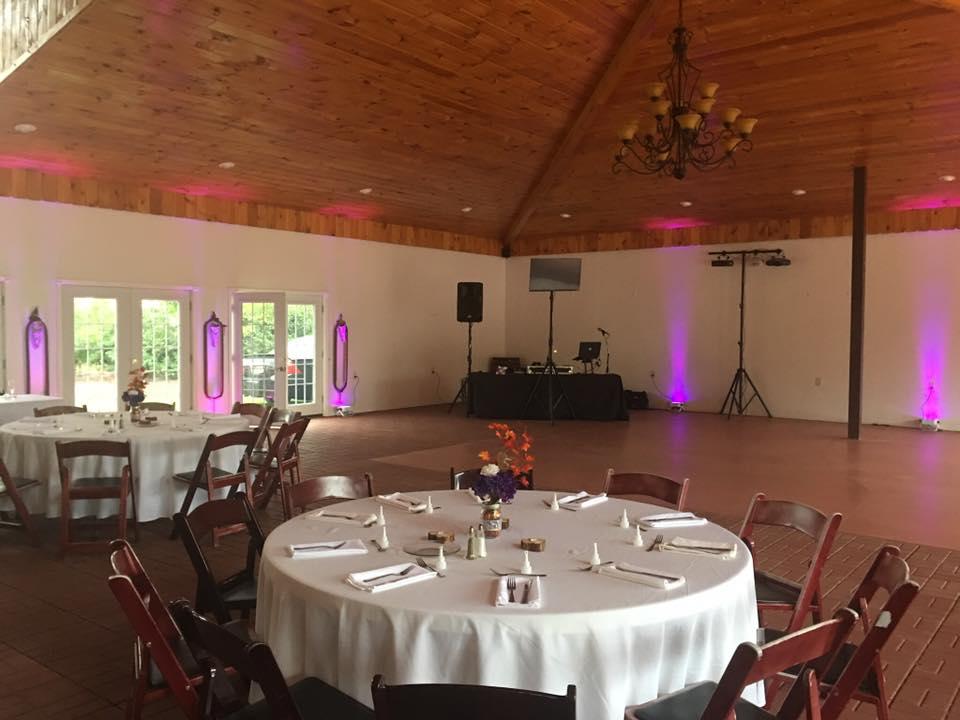 Full-Room Magenta (Purple/Pink) Uplighting at Becker Farms, Hartland, New York