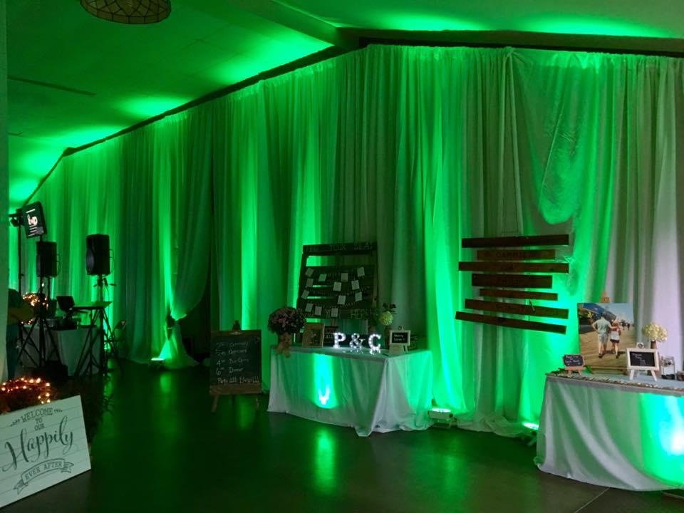 Full-Room Green Uplighting at Bond's Lake, Ransomville, New York