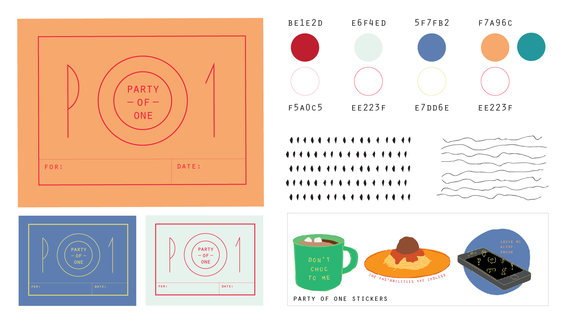 The visual style is inspired by bright, friendly, welcoming restaurant atmospheres. We also created stickers to sell to help offset the cost of the dinner and to remind people to spend some time alone.