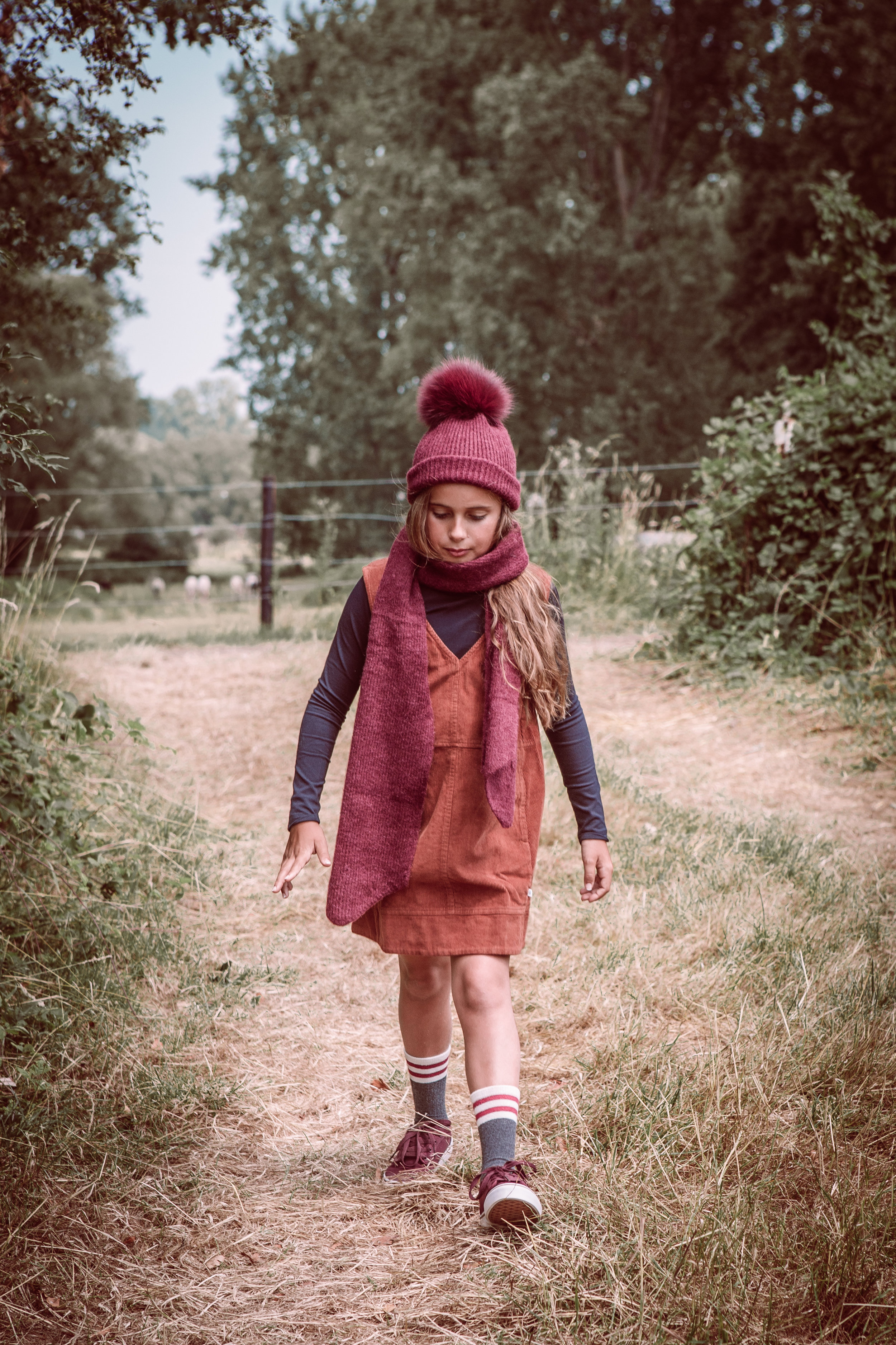 Leo beanie & scarf -  dress & turtle neck Repose AMS  -  shoes Vollebergh