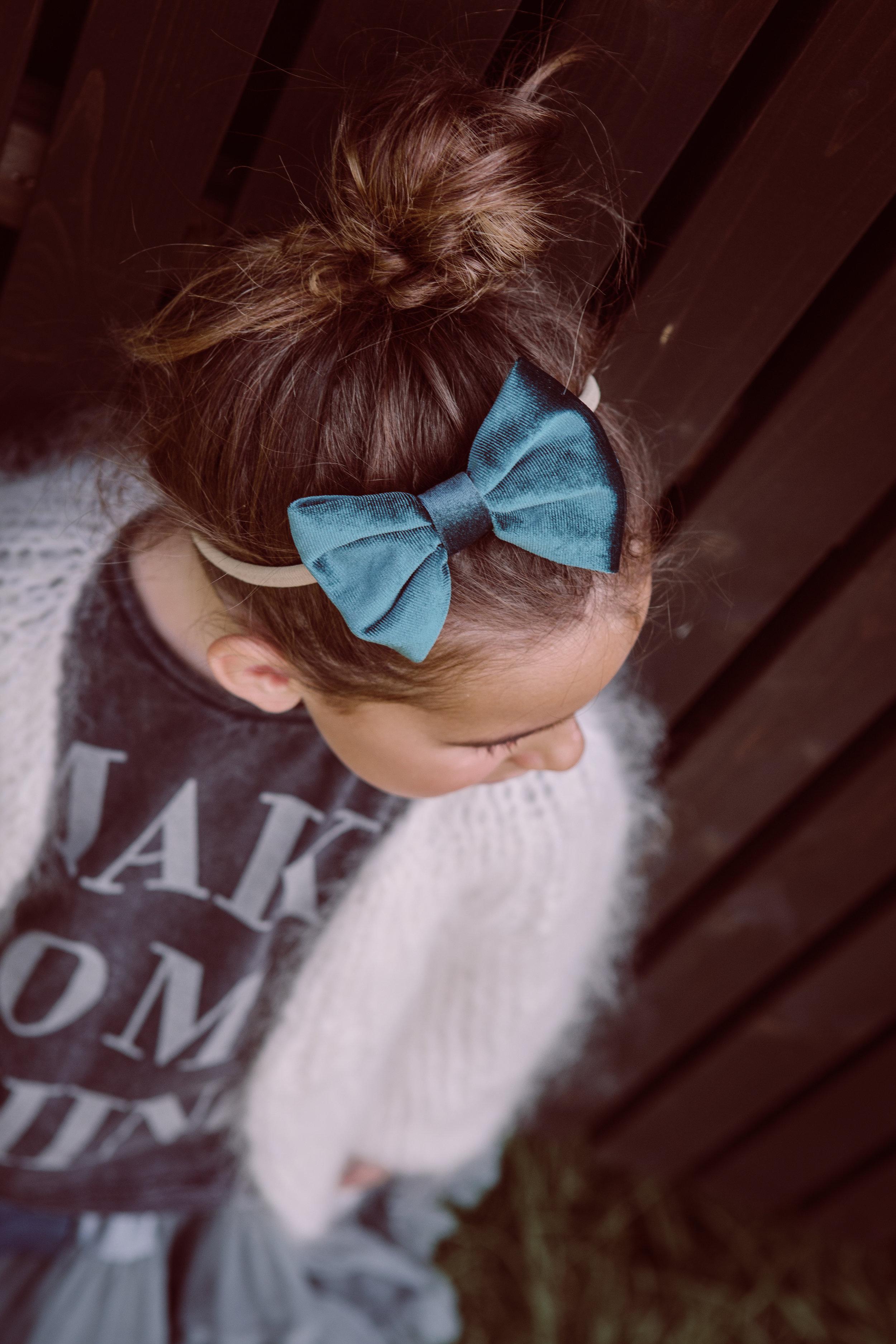Lilou velvet bow - teal