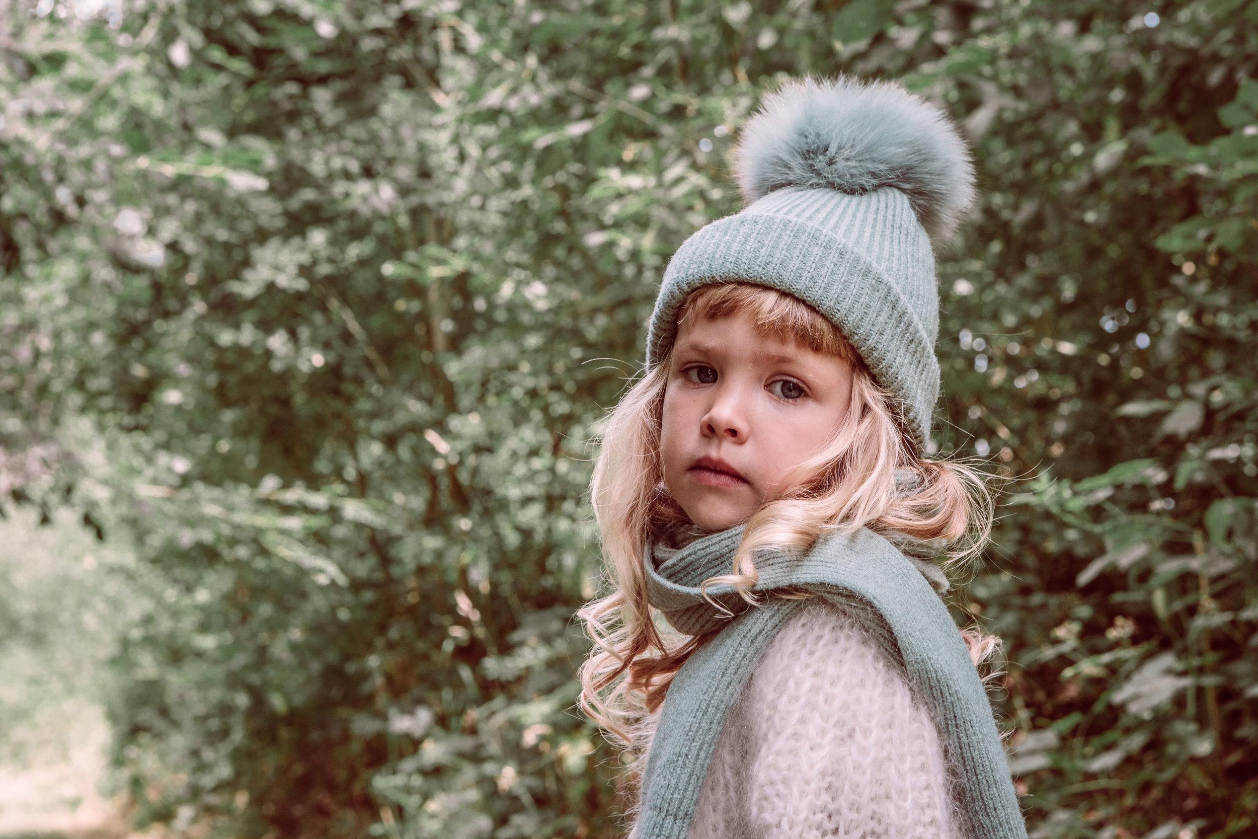 Leo beanie & scarf - green