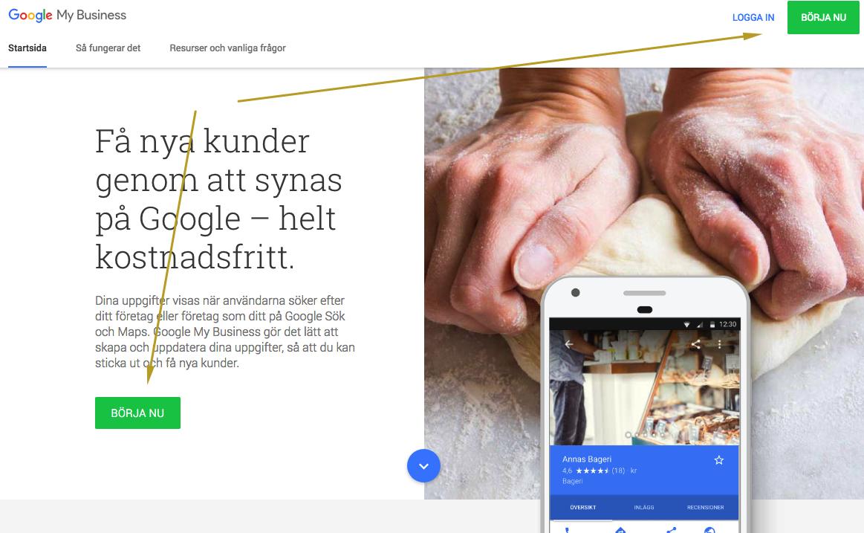 Google My Business registrering