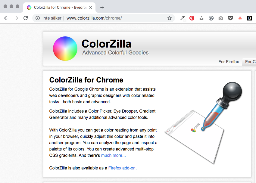 Google Chrome ColorZilla