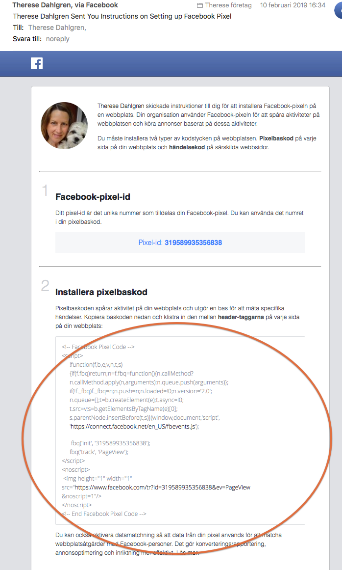 Hämta koden  i mejl om Facebook Pixel.