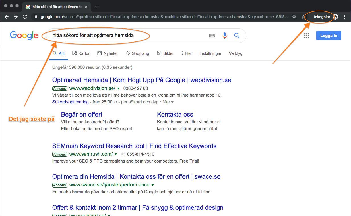 Skriv in sökord eller fras i sökruta på Google.