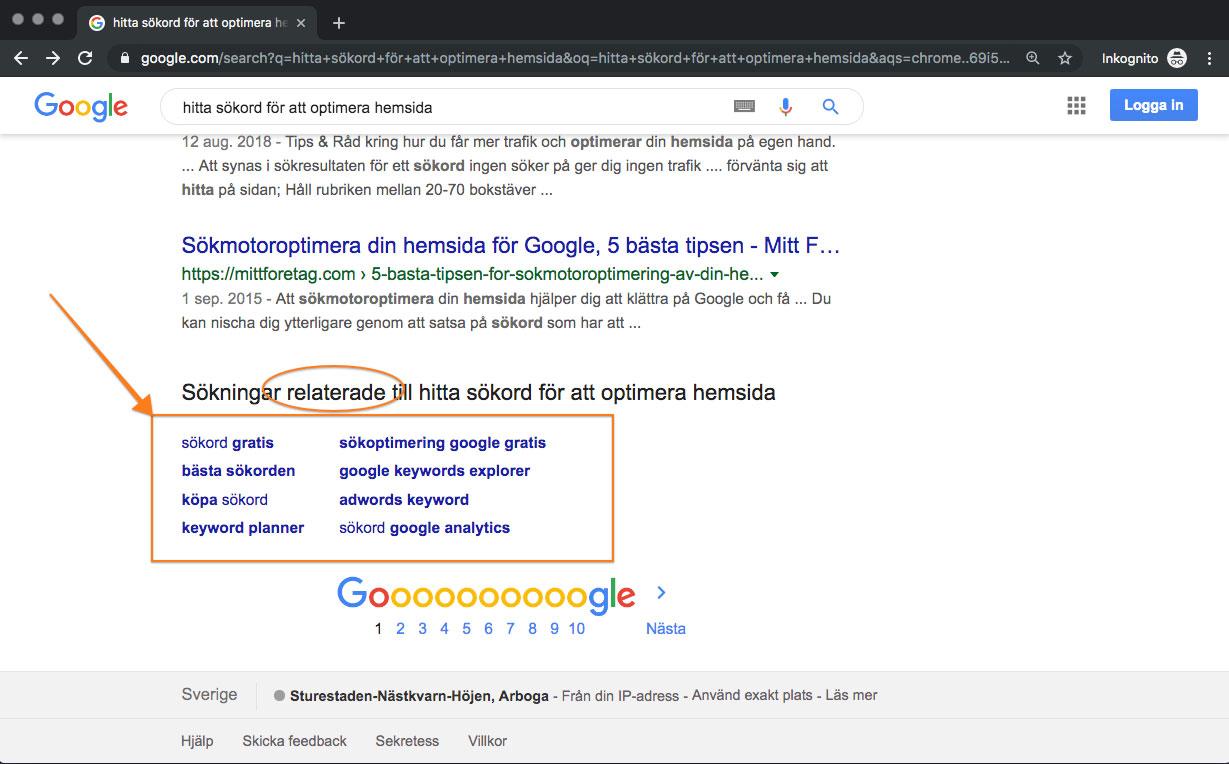 Kolla in relaterande sökord och fraser längst ner i Google.
