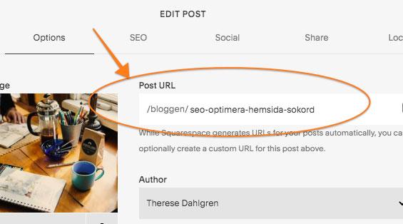 Bra att också placera sökord i URL:n.