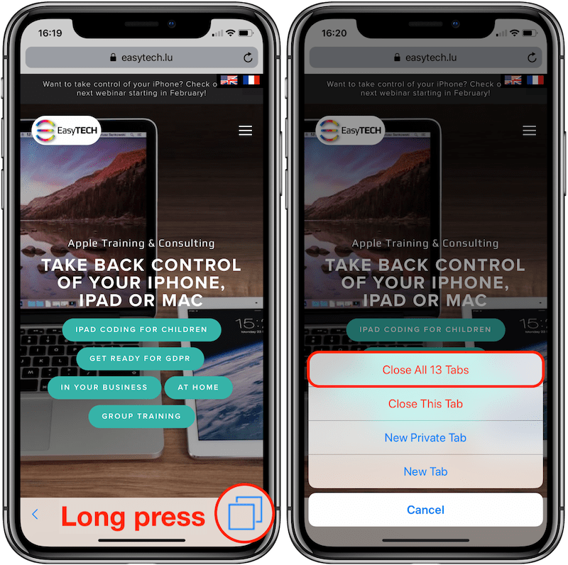 MP06 - iOS 12 iPhone X - Long press tab icon Annotated 800px.png