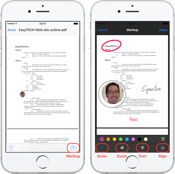 How to annotate and sign PDF in Mail on iPhone - Older version of iOS.png