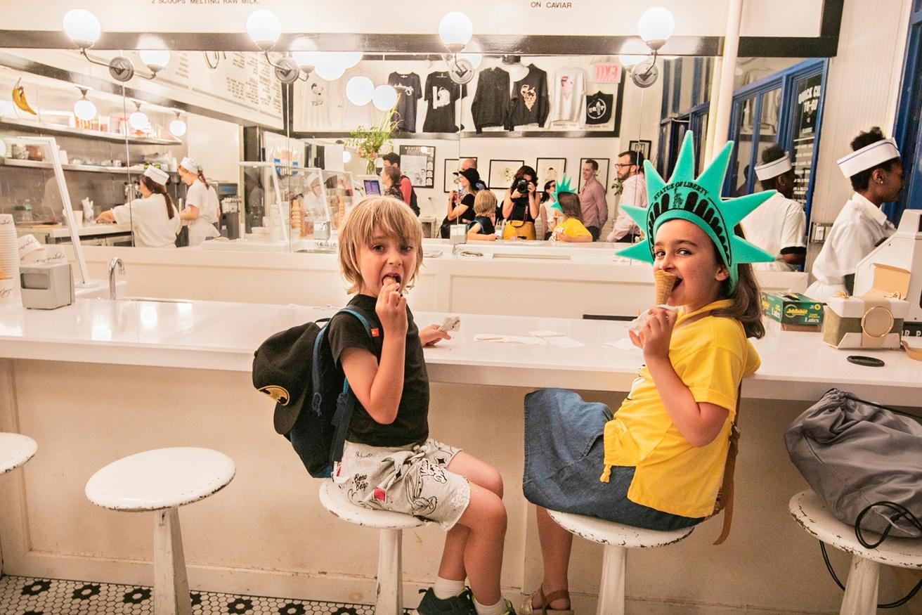 Children eating ice cream photo