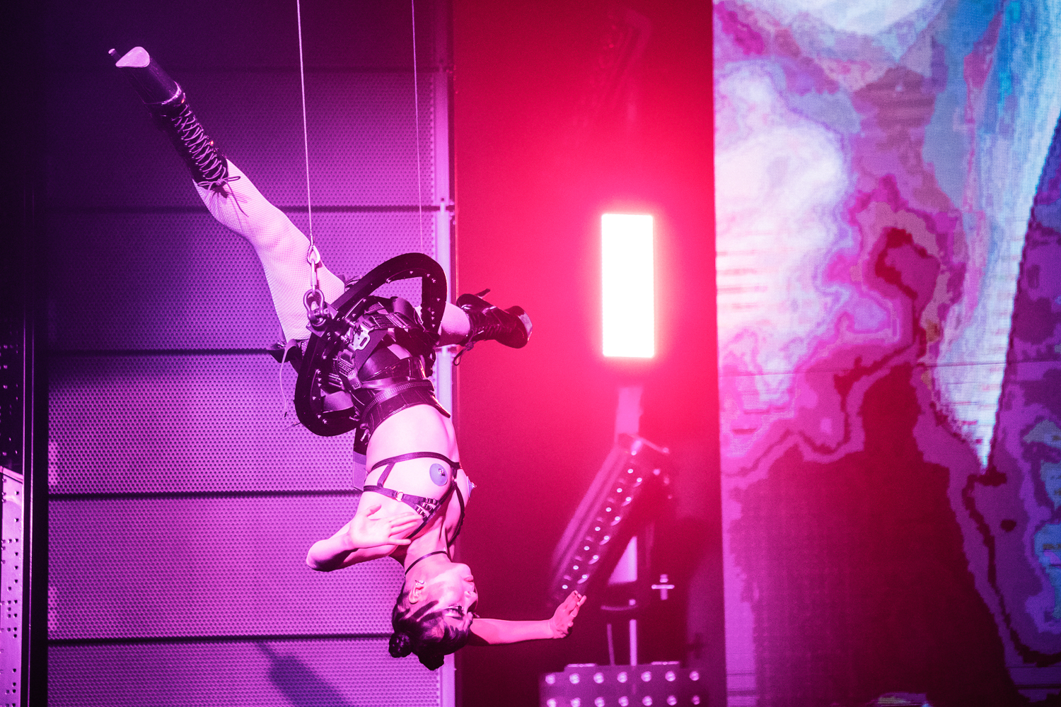 CLUB CHROMA at PARADISE CITY - In an aerial harness performance to accompany world renowned DJ Mesto and his line up