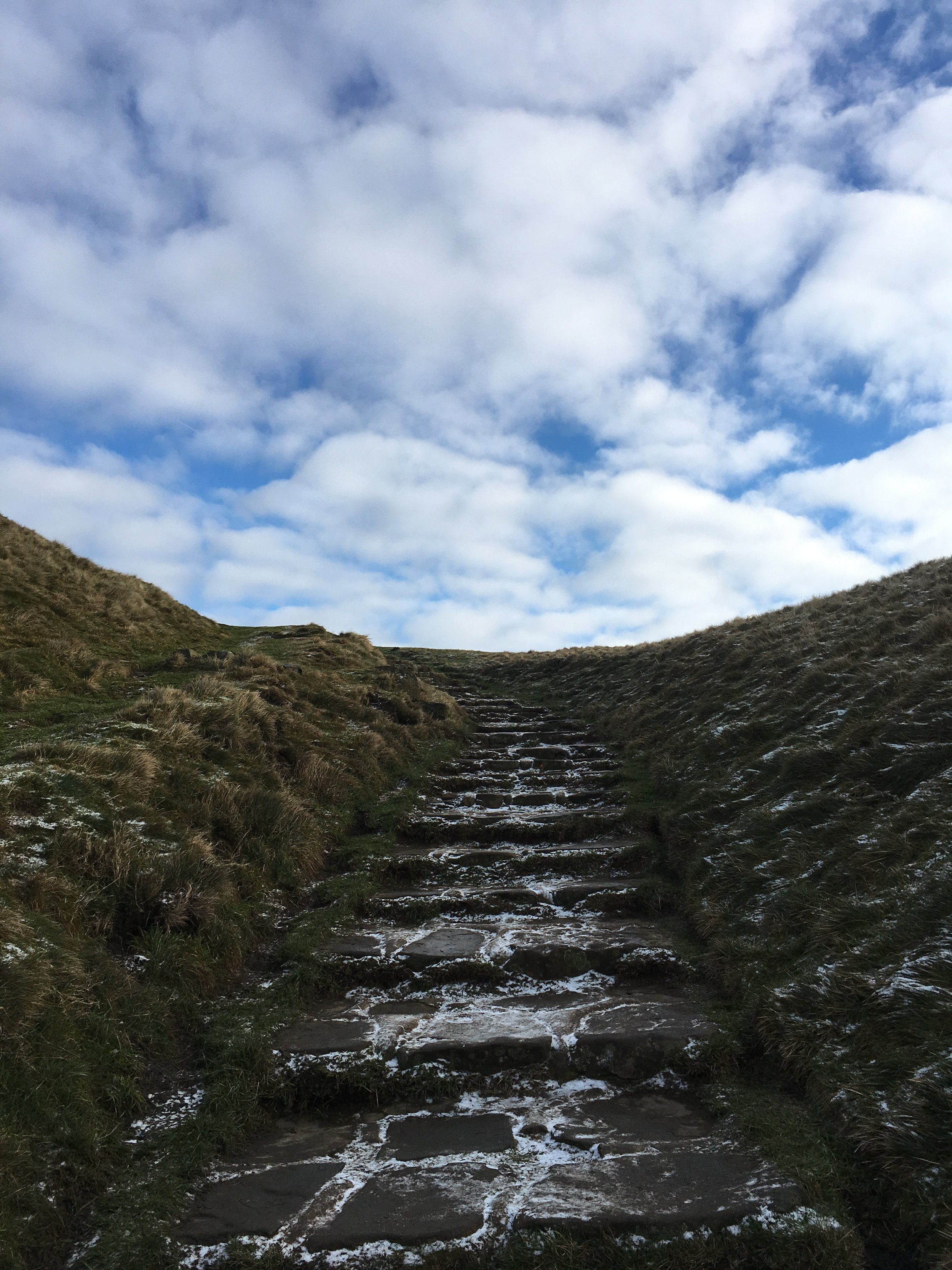 The flagstone steps the to summit