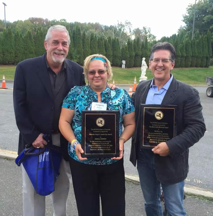 Peter Ashenden with awardees, Angela Hebner and Steve Miccio
