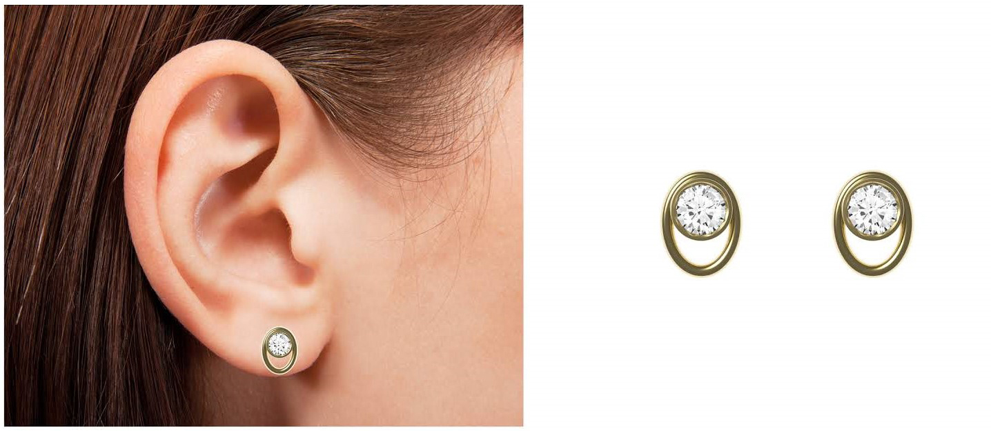 Oval earrings worn and zoomed in