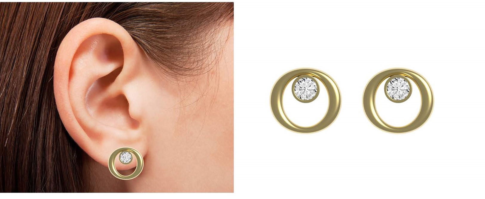 Rounded Earrings worn and zoomed in