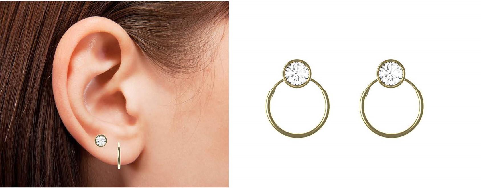 Hoop earrings worn and zoomed in