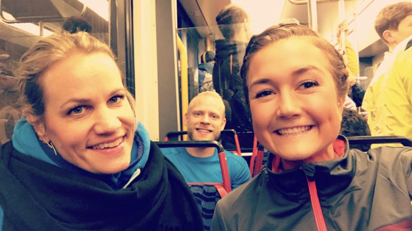 Ester, Kyrre og meg klar for Amsterdam Maraton 2016