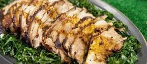 Tip: Take your pork roast out of the fridge & let it sit at room temp for 30 min to an hour. If it has a thick layer of fat on the outside, cut about half of it away to make a thinner layer. -