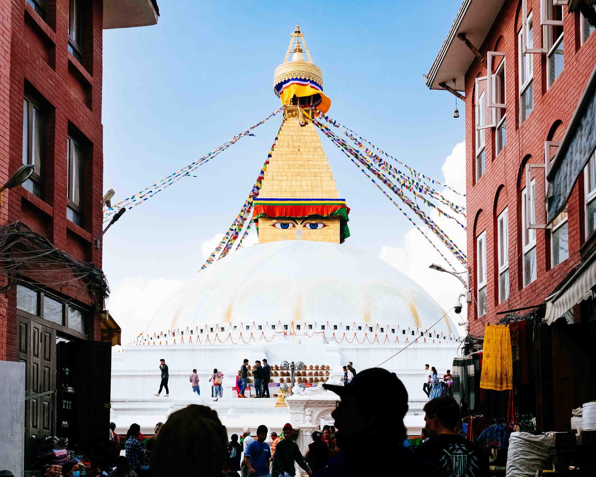 The Boudhanath Stupa in Kathmandu, Nepal.