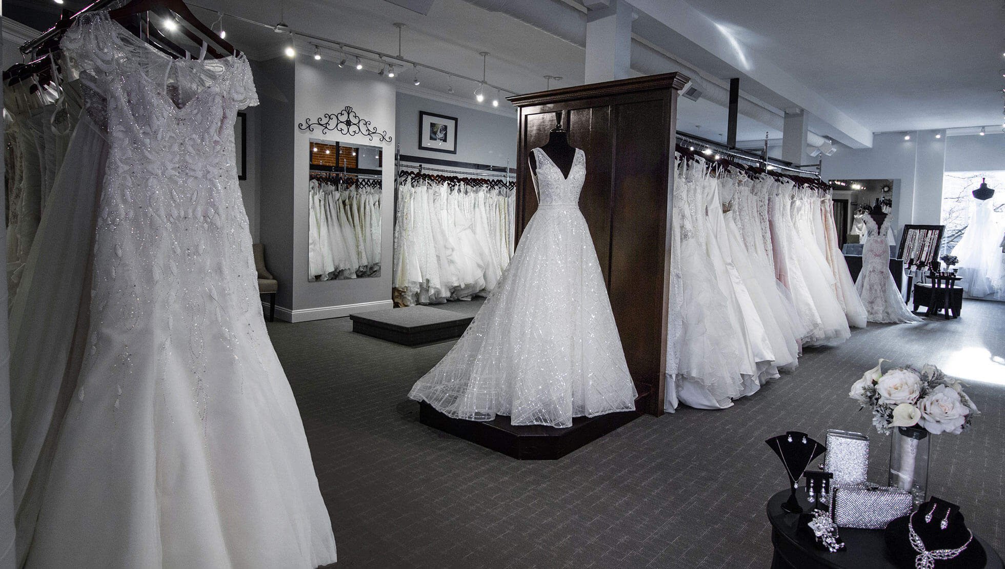Memories' spacious bridal suite filled with wedding gowns.