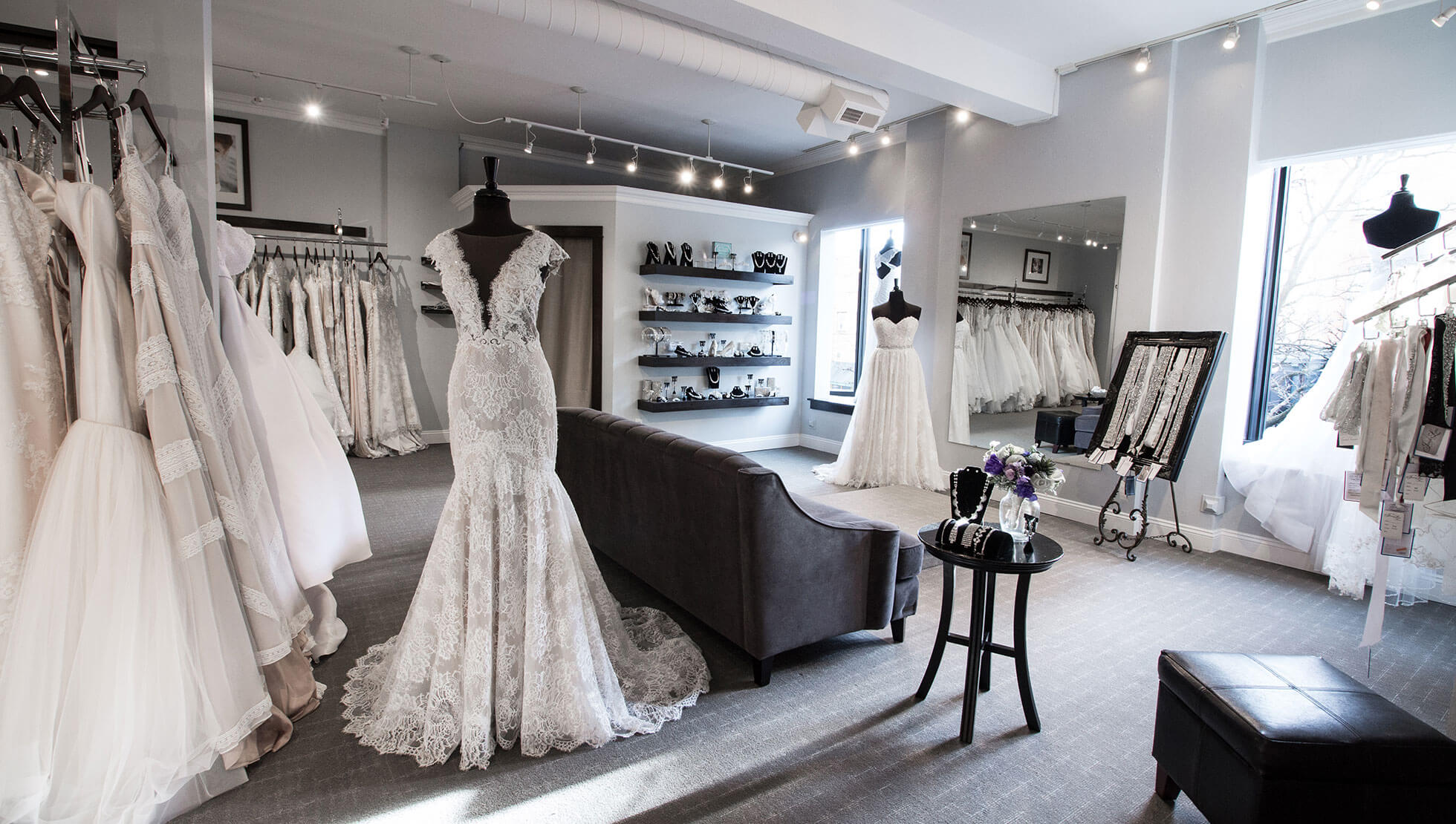 Memories' bridal salons showroom filled with a selection of wedding gowns.