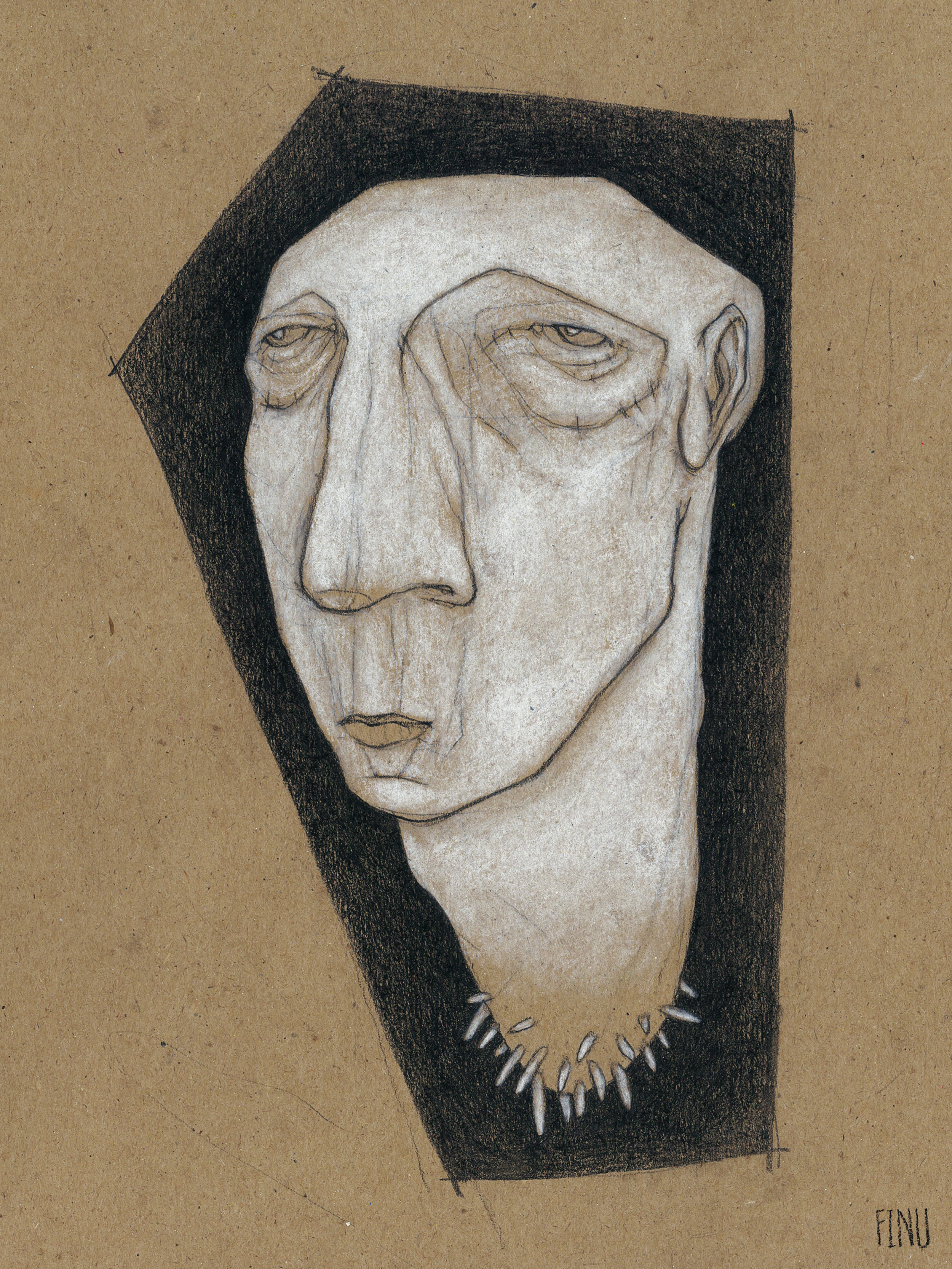 """RACINE #1  Charcoal and pastel on kraft paper, 9 x 12"""", 2017"""