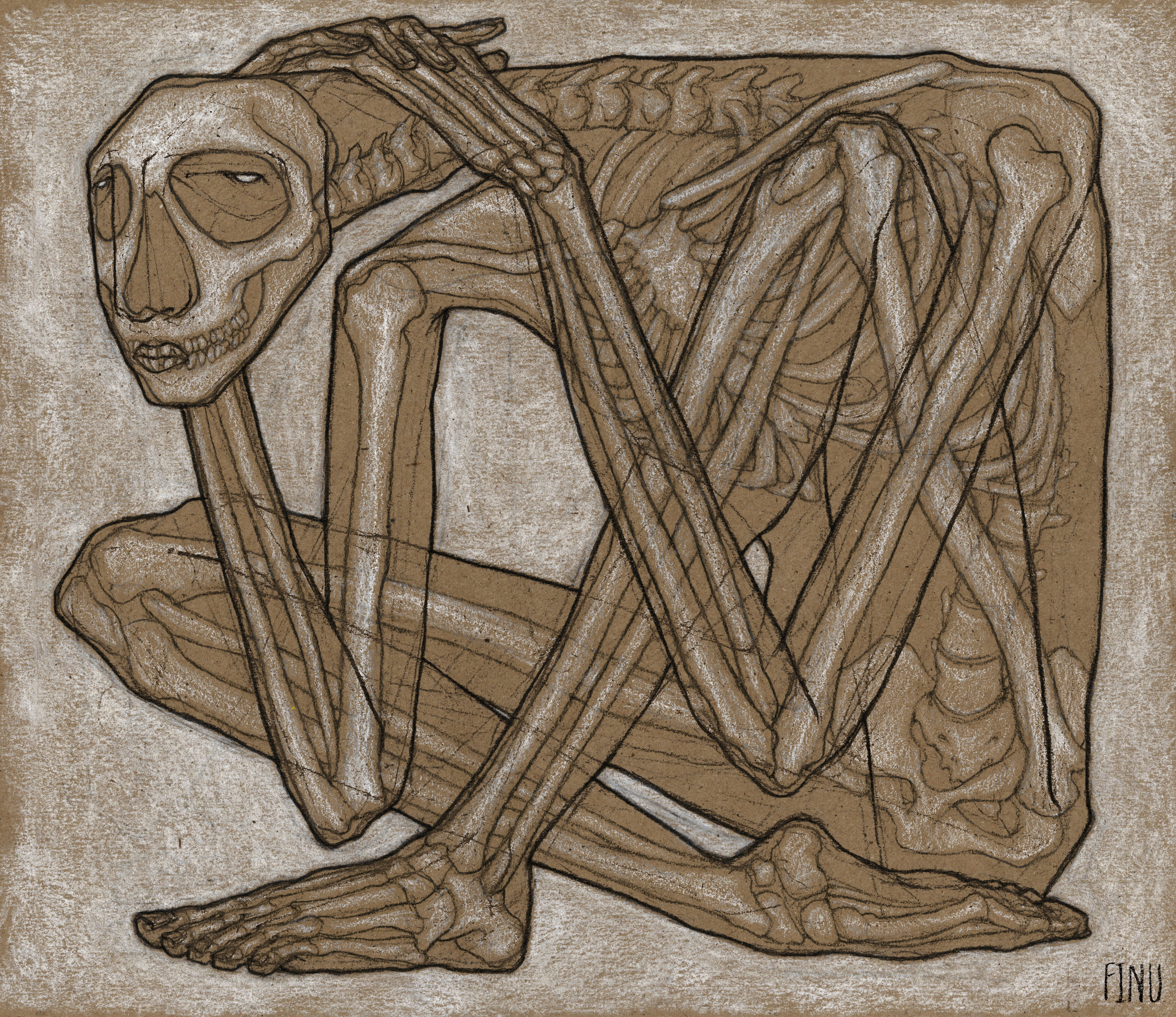 """Anatomy #2  Charcoal and pastel on kraft paper, 9 x 10.4"""", 2017"""