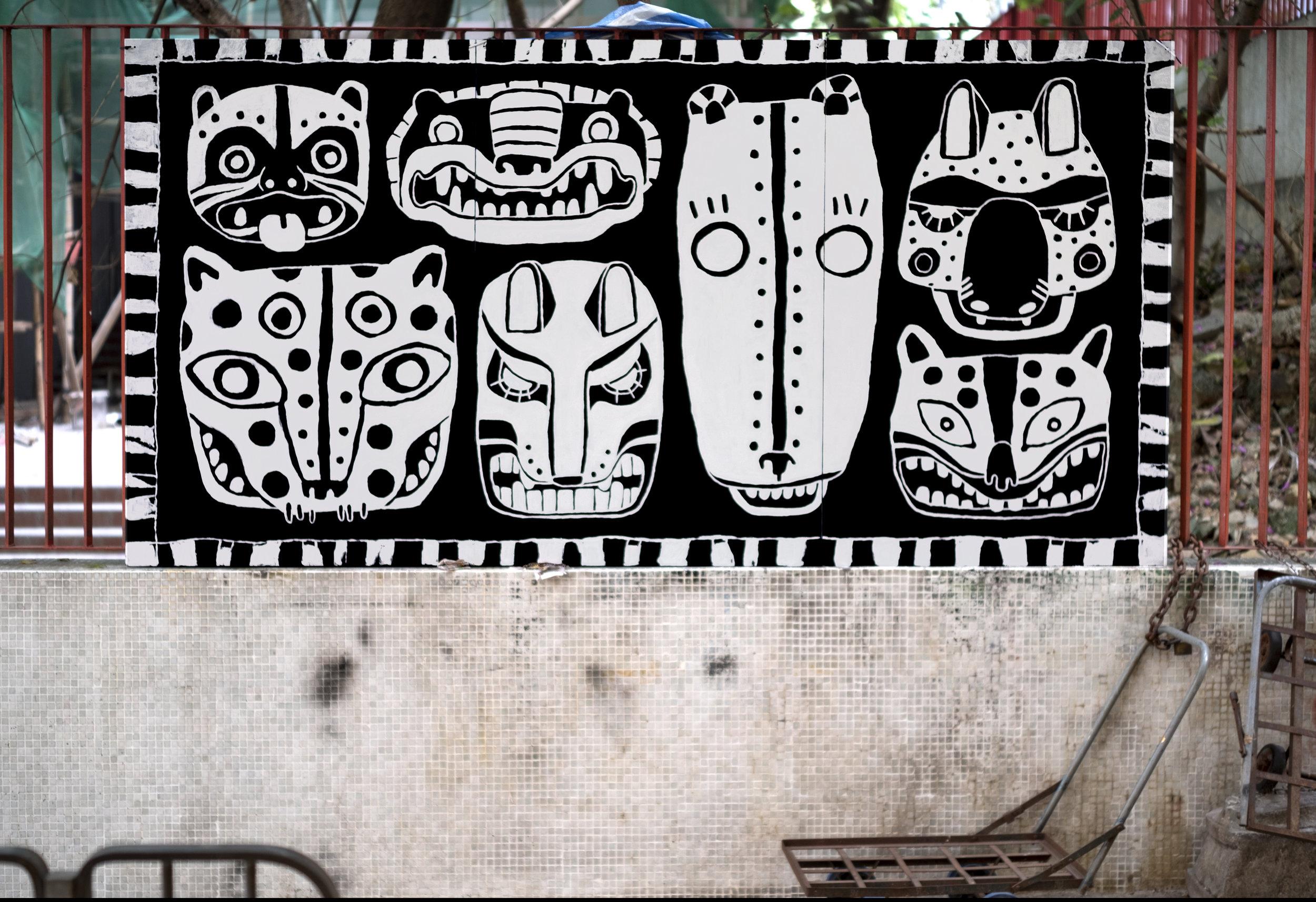 7 Masks - Fauve Radio Opening Party  Paint on wood panel, Sheung Wan, Hong Kong, 2017