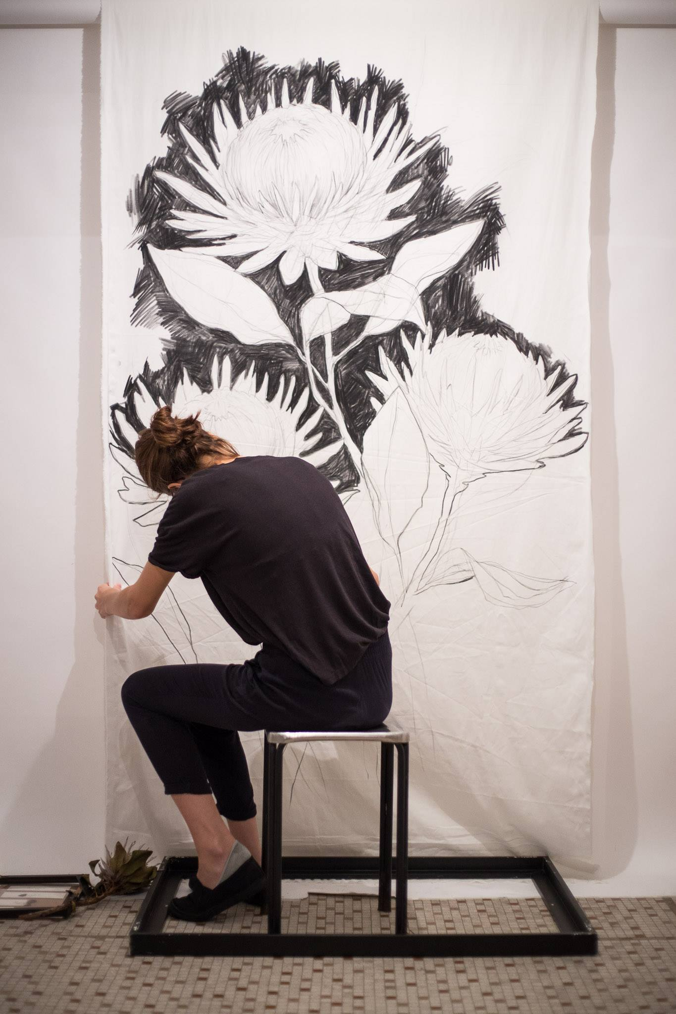 Imperfect Flower - Pursuit of Perfection exhibition by J.Jing  Charcoal on fabric, Mahka, Sheung Wan, Hong Kong, 2017