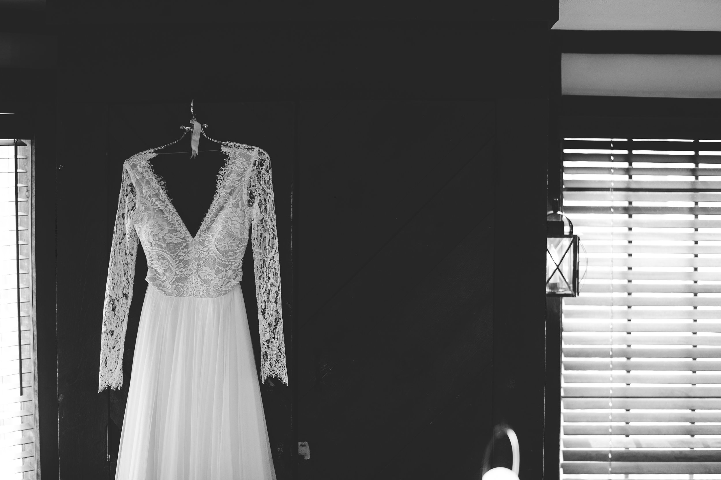 Image from wedding with hanging lace dress