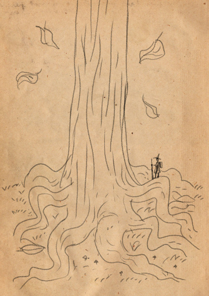 A wayfaring young woman standing atop the massive roots of a Worl Wood.