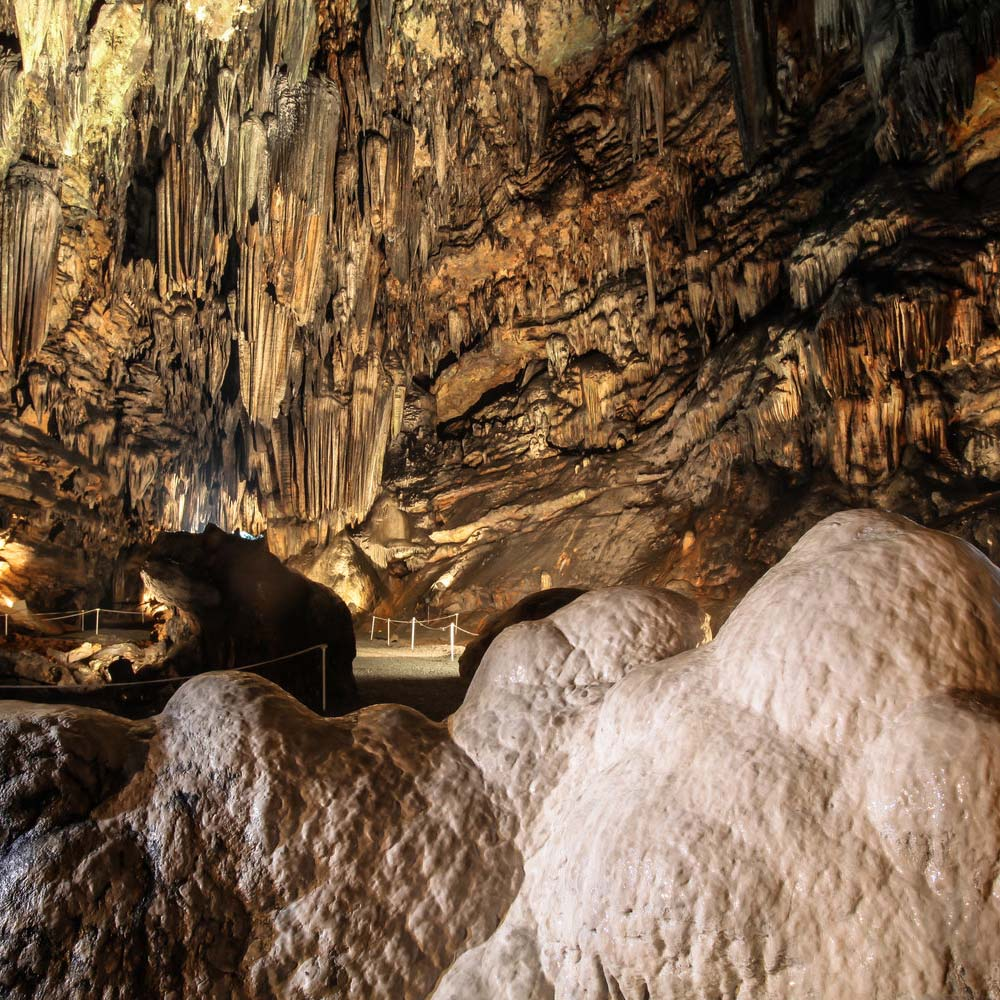 Learn about geology and caver formations in the Underground Classroom at DeSoto Caverns