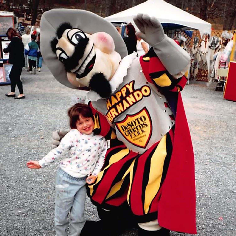 Joy Sorensen with her father, Allen Mathis III, in the Happy Hernando suit