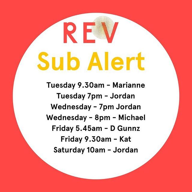 SUB ALERT!  Wanting to try some different instructors but your schedule is limited, here's your chance.  Here is the list of scheduled classes with subs, try someone new and switch it up! #revitup