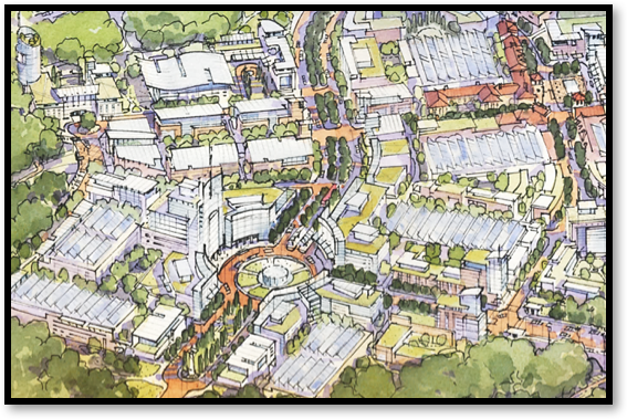 Rendering of FDA Circle within the planned VIVA White Oak™ Global Innovation Hub, just outside the Northeast Entrance Gates to FDA and the Federal Research Center.