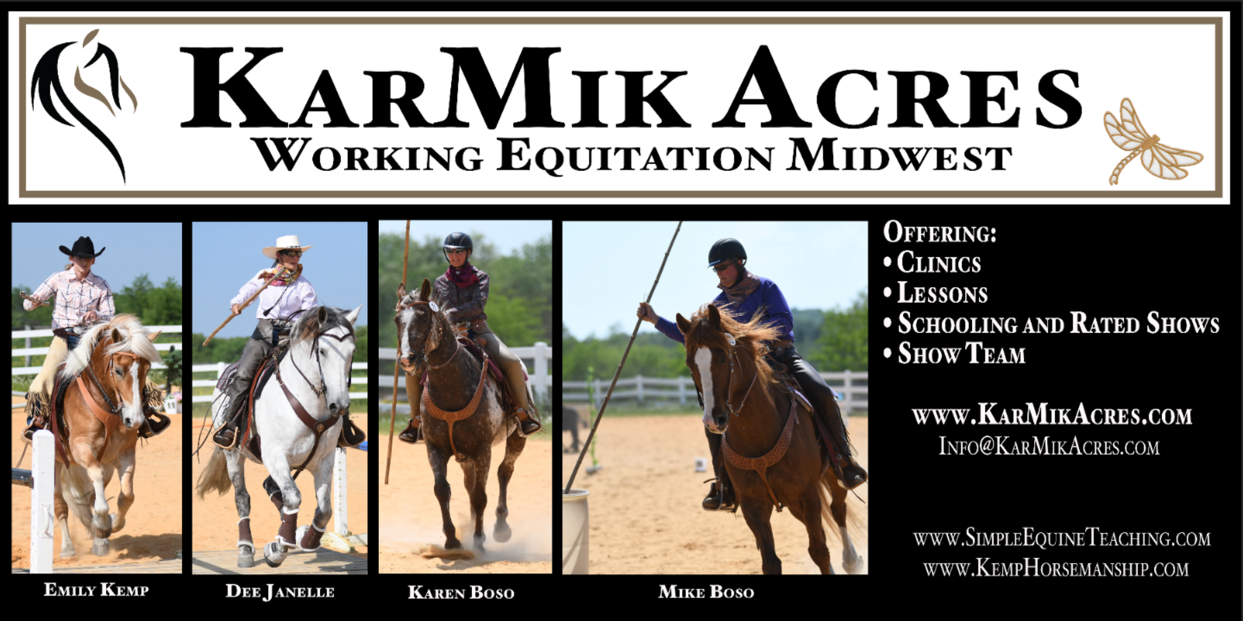 """KarMik Acres - Changing lives one horse at a time - Woodstock, Illinois -  www.karmikacres.com  - """"KarMik Acres would like to Congratulate all riders for making it to Nationals this year. Good luck to all! We hope to see some of you at our Midwest shows in 2019. Find our events on Facebook at KarMik Acres and Working Equitation Midwest."""""""
