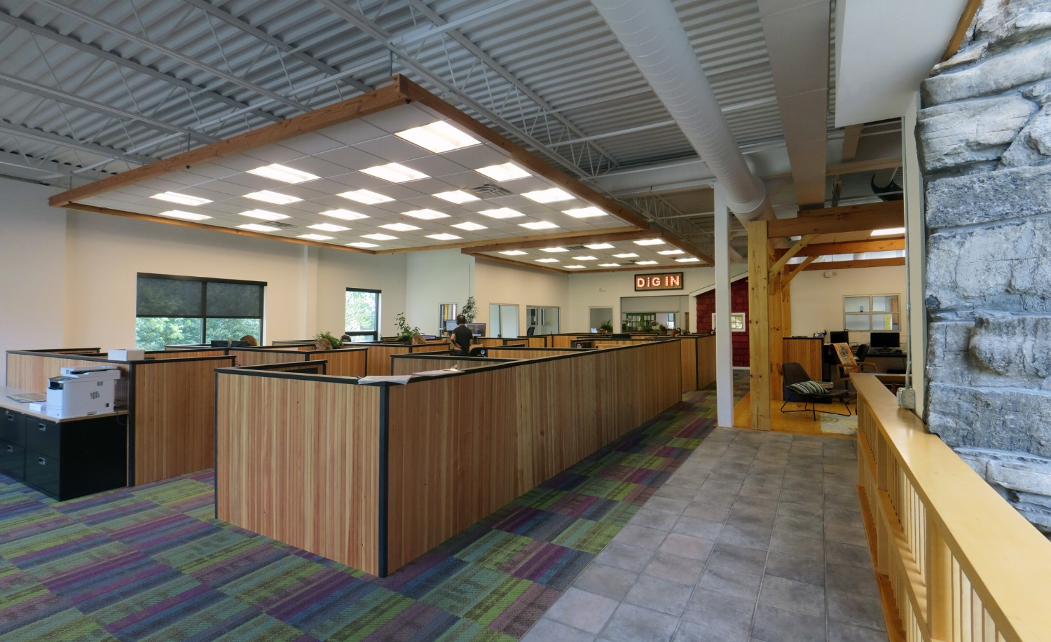 View of open work area from main entry.