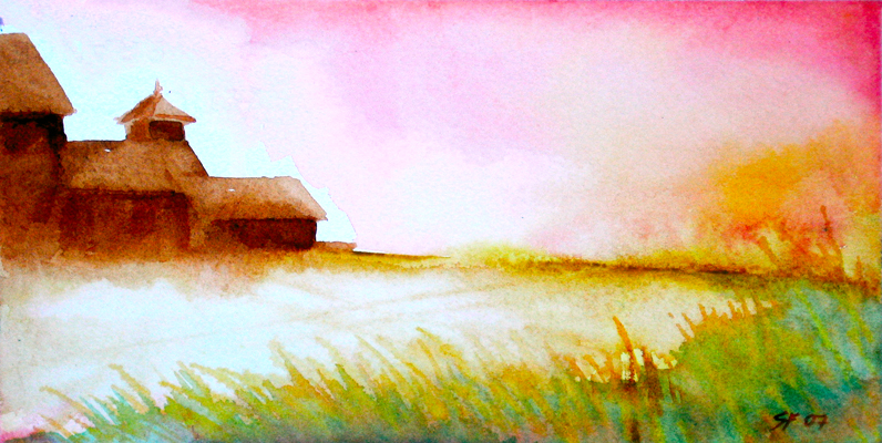 Farm on the land, original watercolor, Stephen M. Frey 2008.