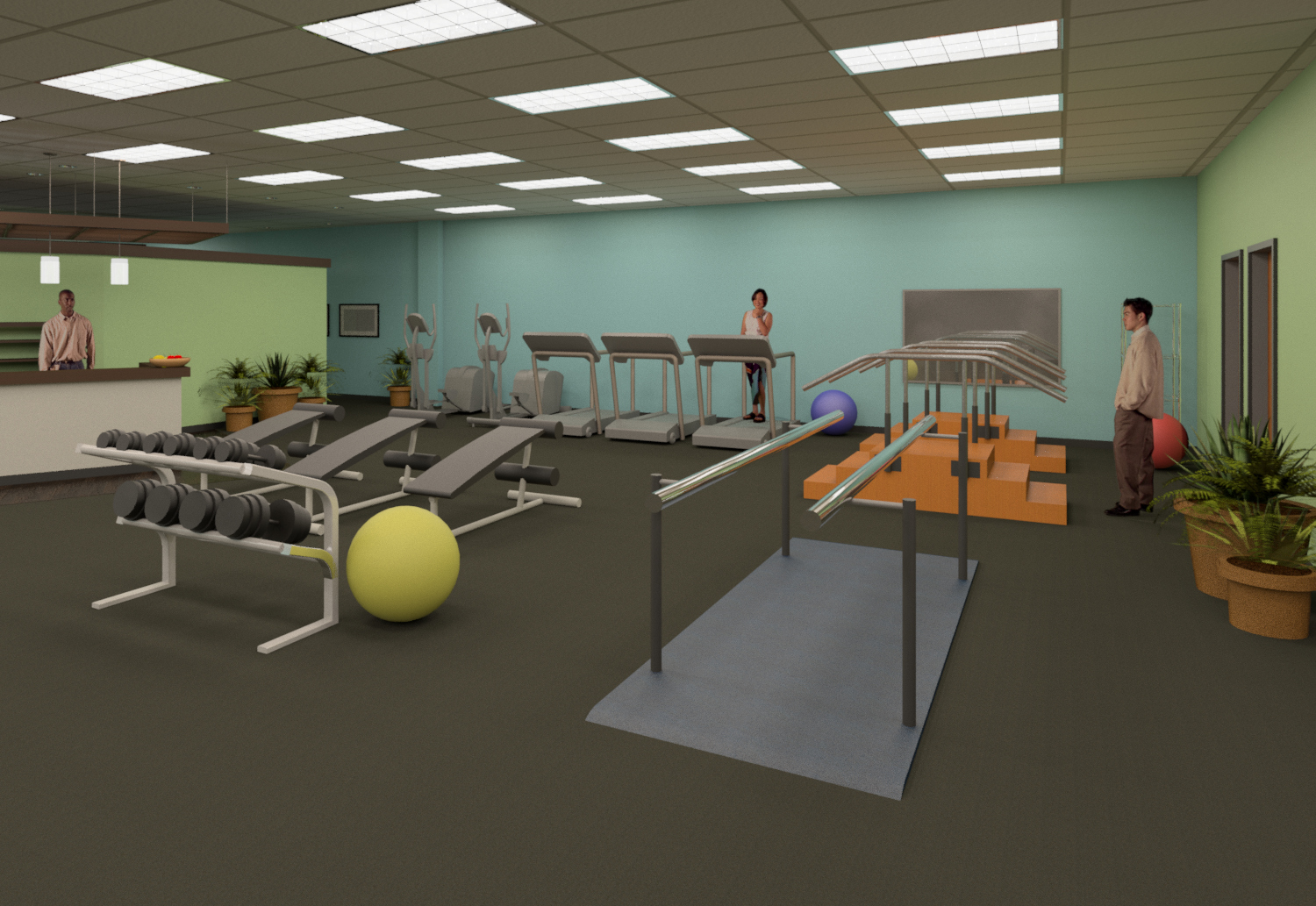 View of physical therapy and rehabilitation clinic space - 3d Interior Visualization