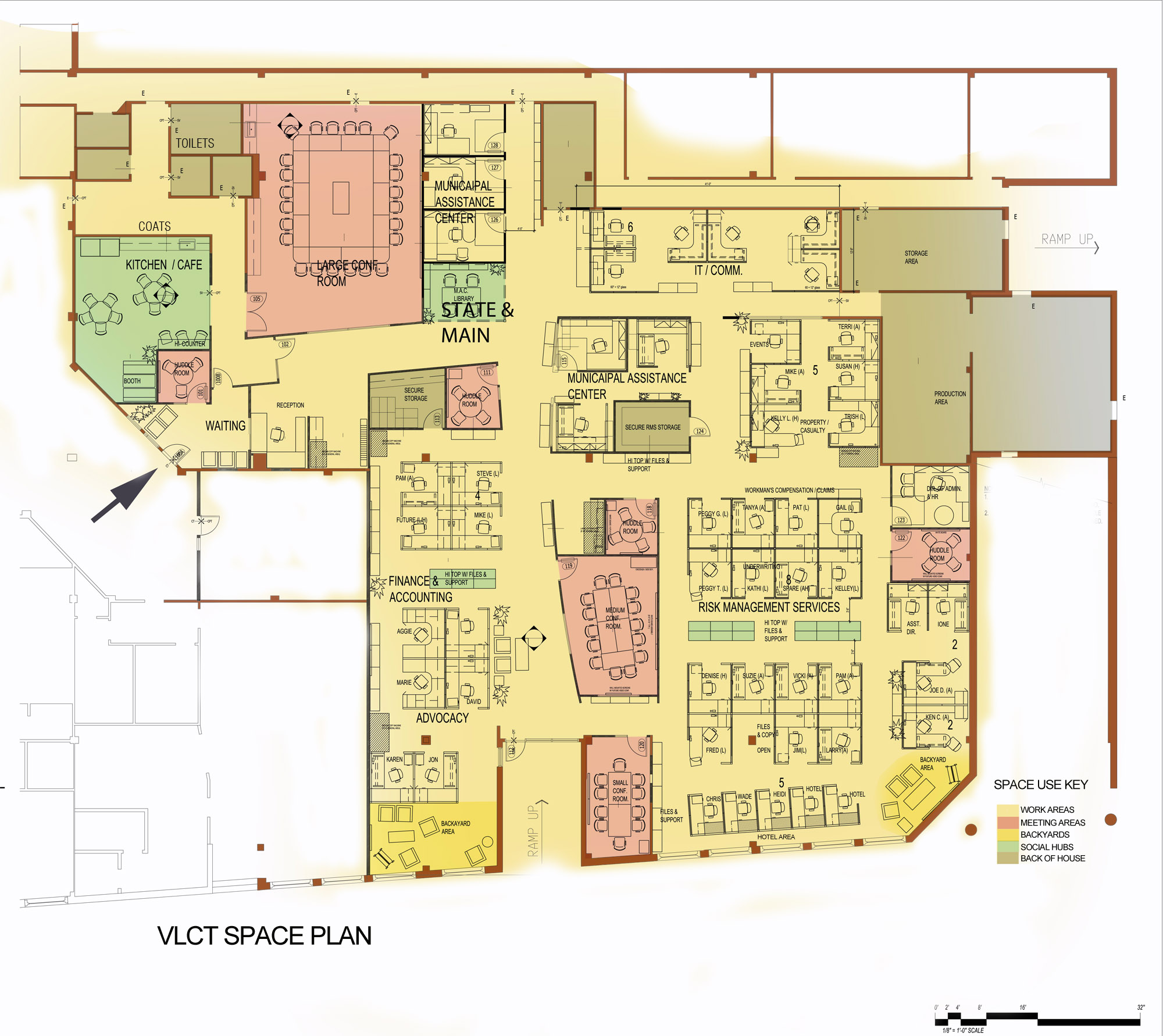 Final floor plan showing work neighborhoods and gradation to more open to closed work areas, collaboration spaces