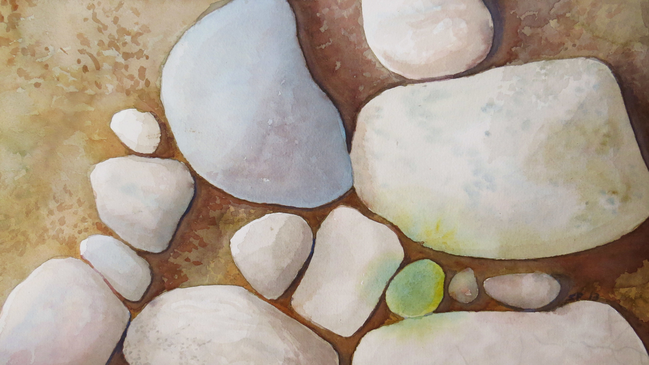 Marblehead Rocks Rearranged - 11 x 22 Watercolor on 140lb Cold Press, Stephen M. Frey