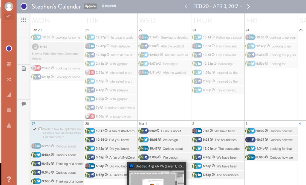 A screenshot of our emergin calendar. (Last week is greyed out)