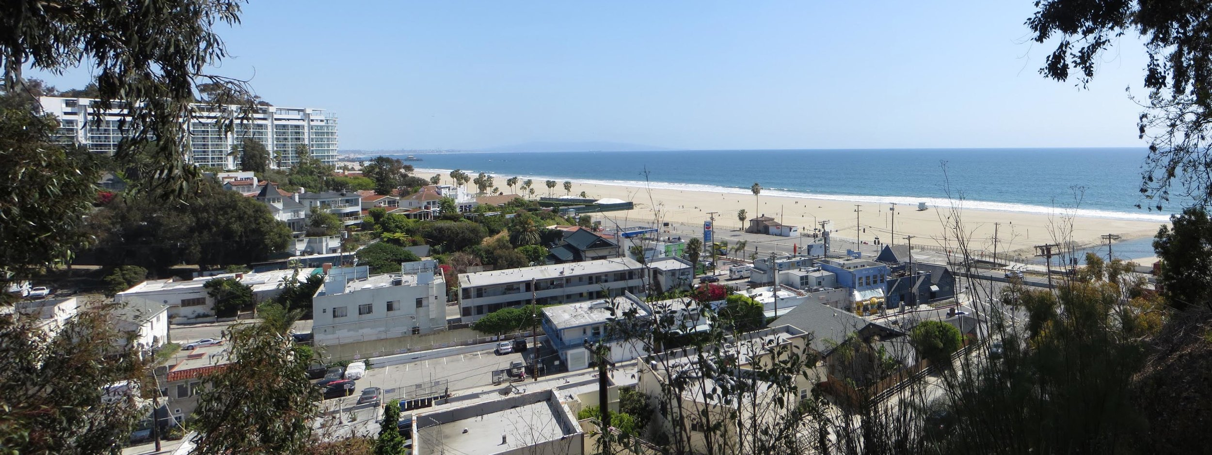 Panorama from Eames House to Pacific Palisades Beach and PCH