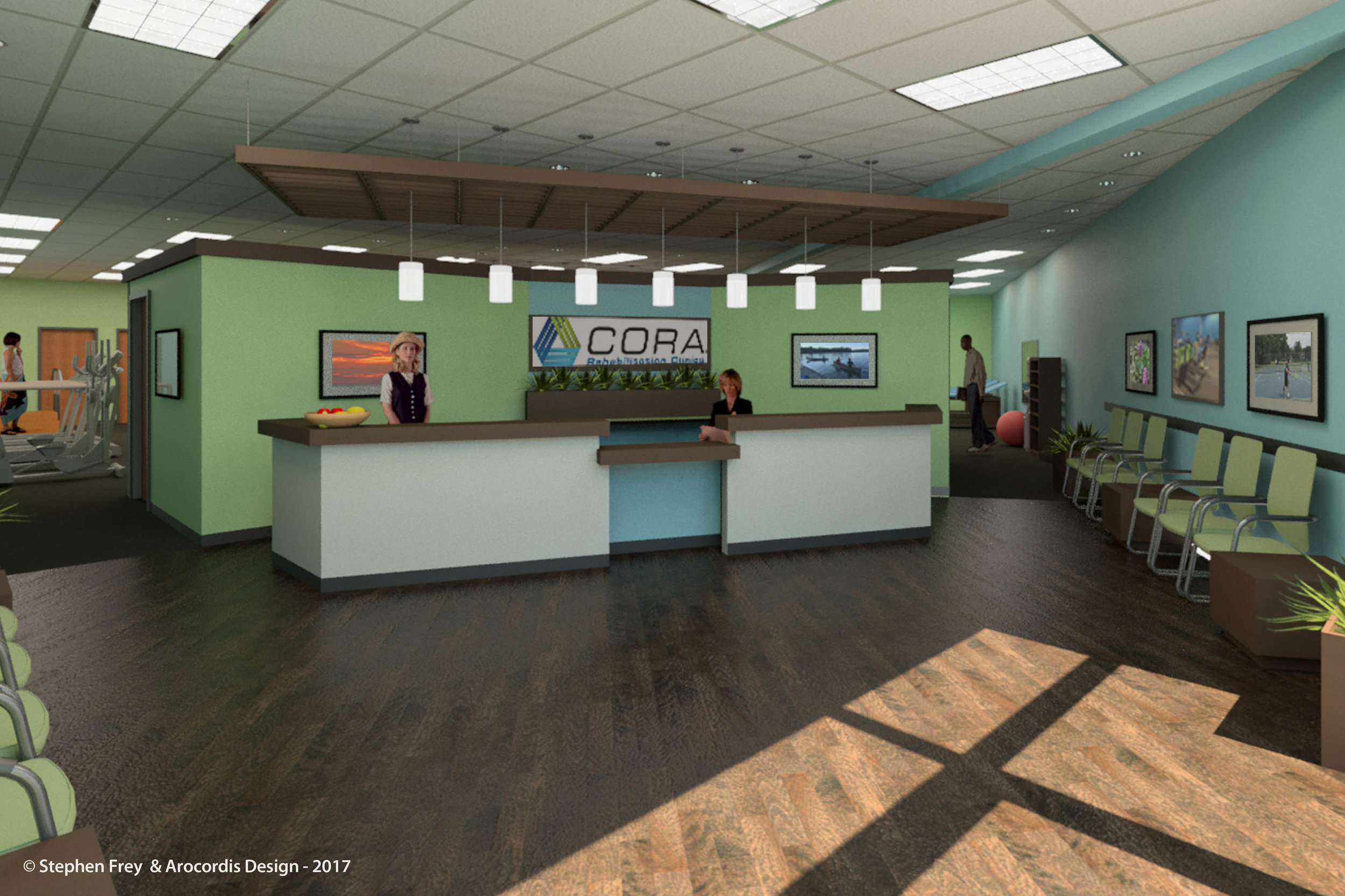 Rendering view of entry lobby and reception area