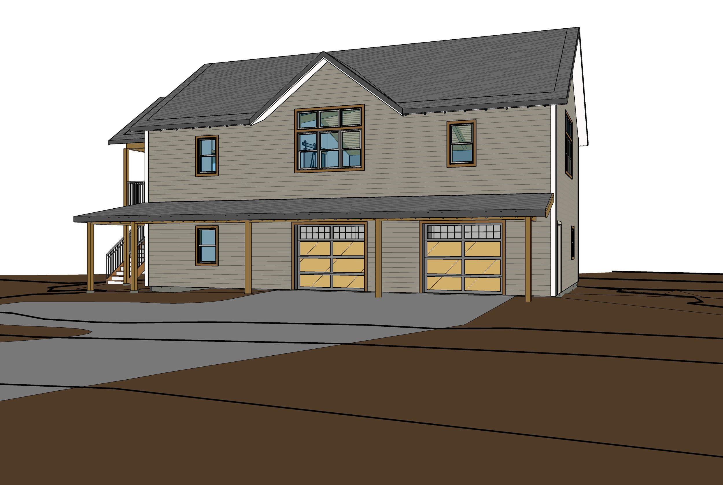Entry side view of the home during the design phase