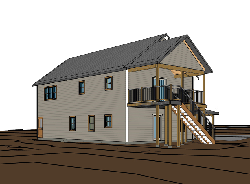 Northwest view showing proposed stairs and porch.
