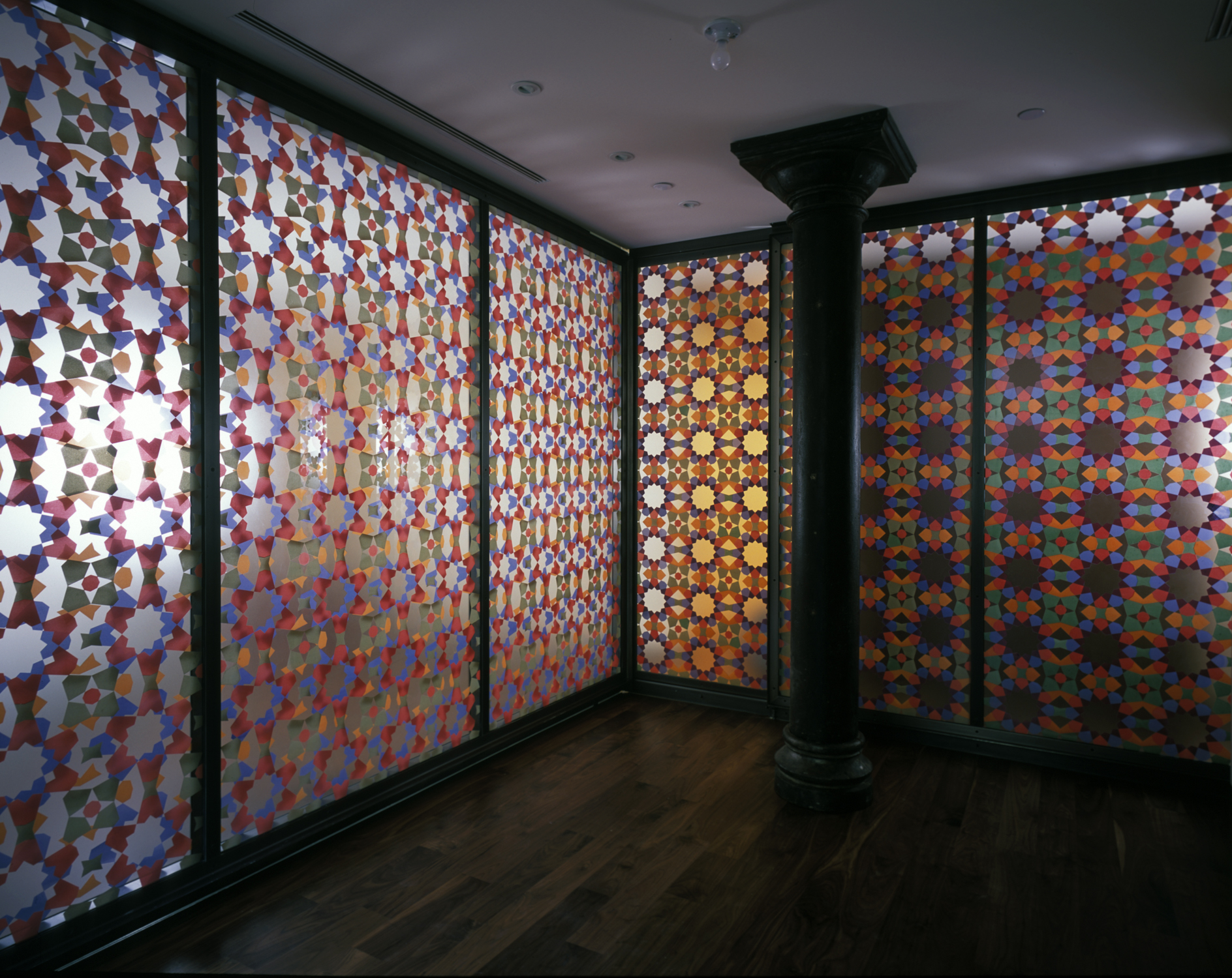 Hand silk-screened double-glass panels, New York, NY
