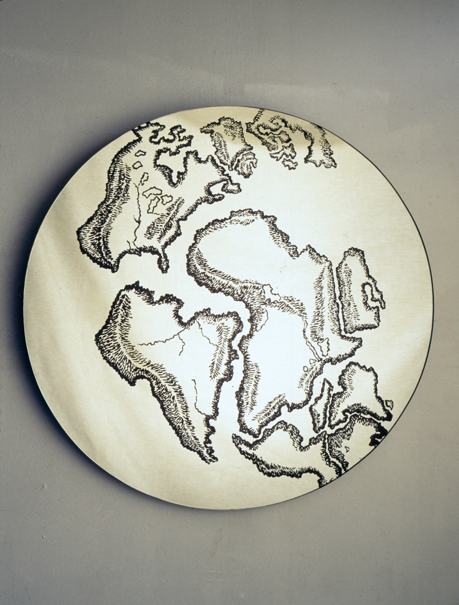 Pangæa printed on glass and silver-mirrored